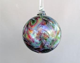 Hand Blown Art Glass Christmas Ornament/Ball/Suncatcher, Multicolored.