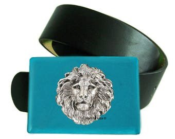 Lion Head Belt Buckle Inlaid in Hand Painted Turquoise Enamel Belt Buckle for Snap Belts Leo Buckle with Custom Colors Available