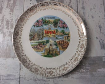 Vintage Iowa Souvenir State Plate with Gold Filigree Border Decorative Collector Travel Vacation Retro Wall Decor