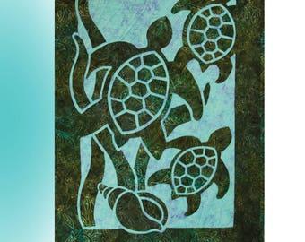 Turtle Beach 2 Fabric Applique Pacific Rim Quilt Pattern
