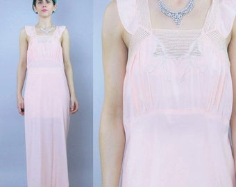 30% Off FLASH SALE 25 Percent OFF 1930s Slip Dress Peach Pink Lace Bias Cut Night Gown Boudoir Flapper Maxi Bridal Lingerie Ruffle Sleeves E