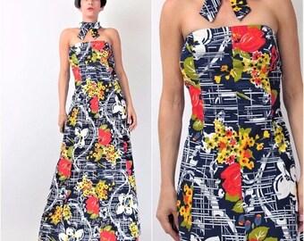 30% Off FLASH SALE Vintage Choker Collar Dress 1960s Strapless Floral Dress Navy Blue Painterly Bold Floral Print Maxi Dress 60s Floor Lengt