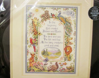 IN THE BEGINNING, Counted Cross Stitch Kit, Dimensions 1992, Unopened