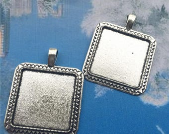 good quality --NEW COME 10 pcs 35x35mm antiqued silver Square cameo/cabochon base setting pendant blanks(fit 25x25mm cabochons)