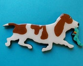 Basset Hound Pin,Magnet or Ornament in Red or Tri-Colored -Free Shipping-Hand Painted
