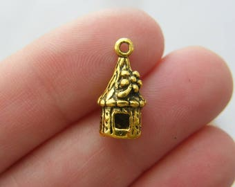 10 Hut charms antique gold tone GC73
