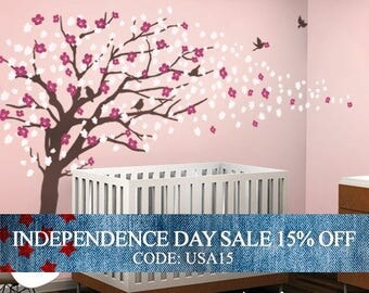 Independence Day Sale - Vinyl Wall Art Decal Sticker - Cherry Blossom Tree - Elegant Style - LARGE