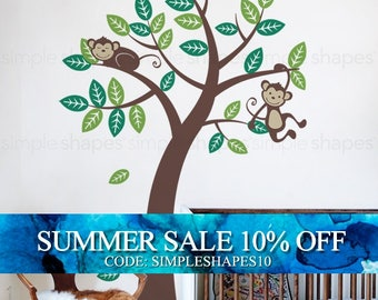 Wall Decals - Tree with Monkeys - Kids Vinyl Wall Decal Sticker - Tree Wall decal
