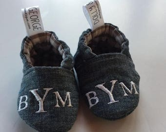 SALE Monogrammed Chambray Gender Neutral Crib Shoes/Baby Slippers 486078623