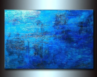Original Rich Textured Blue Abstract Painting Contemporary Gallery Fine Art by Henry Parsinia large 36x24