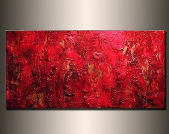 Painting Red Texture Abstract Painting, Contemporary Wall Art Modern Red Abstract by Henry Parsinia Large 48x24