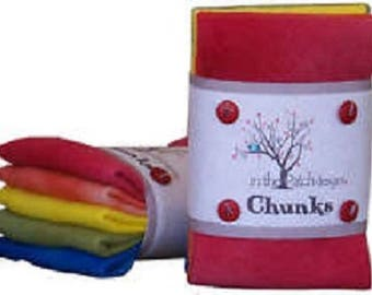 "Rainbow Wool Chunks ,4, 9"" x 10""."