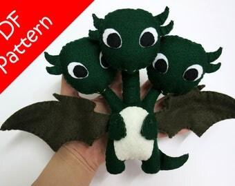Three Head Dragon, Dragonstorm Inspired Plush PDF Pattern -Instant Digital Download