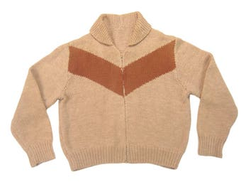1960s Shawl Collar Sweater Vintage Mid Century Men's Homemade Brown Chevron Wool Knit Full Zip Jumper Size Large/XL