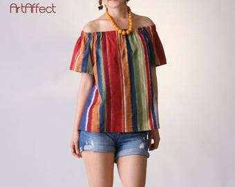 NEW Off Shoulder Top in Vertical Stripe, Cold Shoulder Top, Flare Blouse with Short Sleeve, Cute Summer Top, Loose Top, Smock Neck Blouse