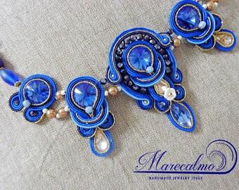 Blue bib necklace, soutache necklace, soutache costume jewelry, bridal jewelry, beaded statement necklace,m boho bib blue necklace