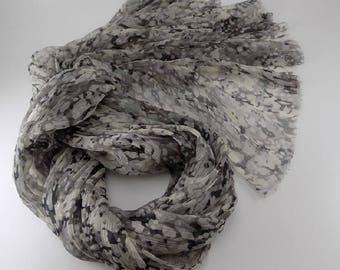 Handmade Silk Scarf --- Black White Gray / Abstract