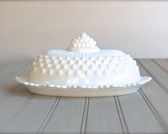 Vintage Milk Glass Butter Dish Hob Nail Ornate Lidded White Shabby Cottage Mid Century  Victorian