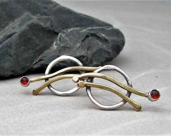 Modern circle studs, hammered circle earrings, mixed metal stud, silver brass stud, silver hoop stud, gemstone stud, tomlindesign, artisan