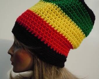 Jamaican Colors, Rasta Hat, Dreadlock Tam, Rasta Tam Cap, Hippie Hat, Bag Hat, Black Red Yellow Green Hat, Ethiopia Flag Colors, Reggae