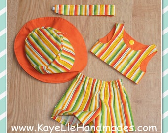 18 inch Doll Clothes - Fashion Doll - Top, Shorts, Hat and Headband - Cream, Yellow, Orange, Green Stripes