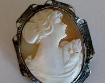 ON SALE Antique Sterling Shell Cameo Brooch