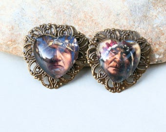 old indian chief, 2 charms for earrings, heart charms