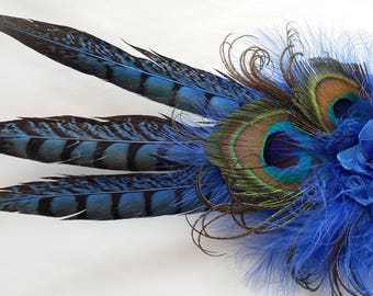 Royal Cobalt Sapphire Blue & Bronze Rustic Pheasant and Peacock Feather Wedding Fascinator Percher Hat - Made to Order