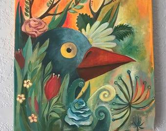 Blue Bird Colorful Flowers Illustration