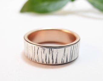 womens wedding band womens wedding ring gold wedding band gold wedding ring birch bark wedding band tree bark wedding rose gold ring 6.75