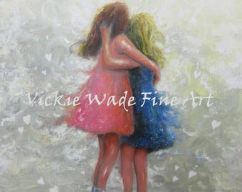 Two Sisters Art Print two girls, redhead, blonde girl, wall art, loving sisters, two girls, best friends, Vickie Wade Art