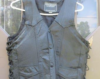 1980S  Hudson BIKER   leather black lace up HIPSTER  motorcycle biker vest      sz 34