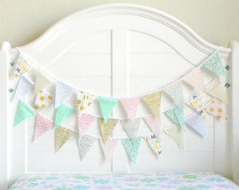Fabric Bunting Banner, Fabric Garland Nursery Decor Girl, Pink and Gold Baby Shower Banner Flags, Mint and Gold Bridal Shower Decorations