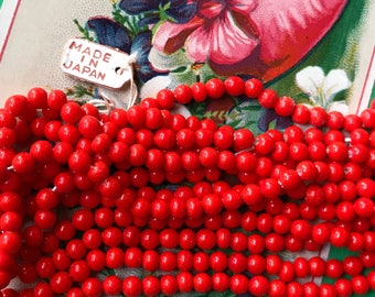Vintage Cherry Brand, Miriam Haskell Glass Beads 4mm, Japan Opaque Red, Tiny red beads, opaque red #B17