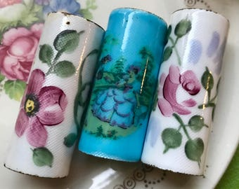 Vintage FLORAL Guilloche Enameled LIPSTICK Cylinder, Steampunk Supplies, enameled cylinders, Vintage Supplies, Jewelry making