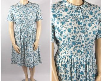 1950s - 1960s Floral Shirtwaist Dress - Late 50s Peter Pan Collar - Blue and White Day Dress // 34 Waist