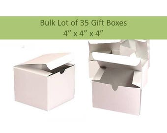 """Bulk Lot of 35 White Gift Boxes 4"""" x 4"""" White Gloss Box for Mugs, Ornaments, Jewelry, Groomsmen's Gift Boxes"""
