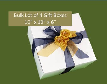 "4 LARGE Gift Boxes, Bulk Lot 10"" x 10"" x 6"" for Stemmed Glasses, Wedding Favors, Accessories, Clothing, Groomsmen's Gifts"