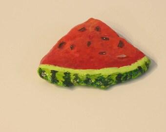 Painted Rocks, watermelon slice, food art, paperweight