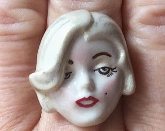 MARILYN MONROE RING, Ceramic Character, Upcycled Retro Jewelry, Adjustable Band, Repurposed Jewelry, Unique, Ooak