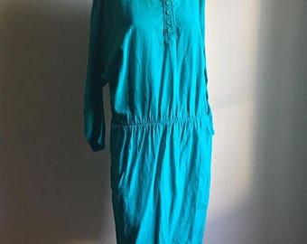 SUMMER SALE Emerald Green Gauze Cotton Casual Vintage Dress • Cotton Dress • Free Size Dress • Gauze Cotton Dress