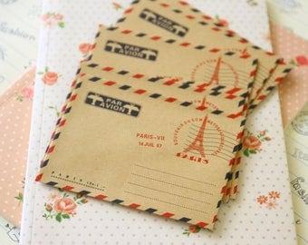 Eiffel Paris mini kraft brown envelopes