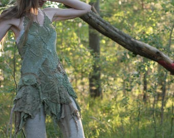 RESERVED Moss owl Spirit Dress, , Woodland Nymph Costume, Fairy Couture Outfit, Elven Cosplay