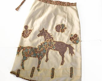 Vintage Hippie Wrap Skirt / applique Horses & Mice / Horse Barn / Novety WRap skirt 70s fashion