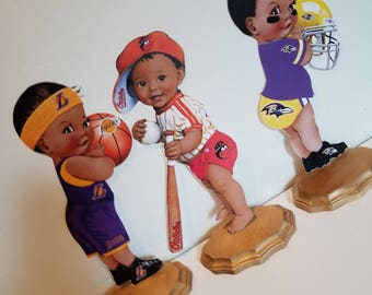 Sports theme inspired Centerpieces. African American Baby Centerpiece.