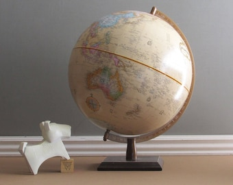 Vintage Replogle World Globe - 12 inch Relief Globemaster- wood base- Home or Office Décor