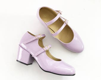 Molly Faux Leather Strapped Heels Mary Janes (Handmade to order)