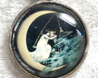 Lovers on the moon bead woven necklace