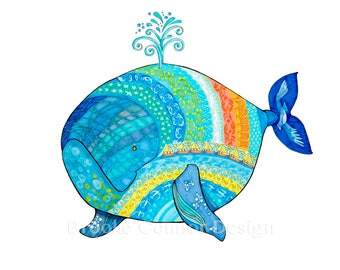 The Painted Whale Limited Edition giclee print of a Baby Whale