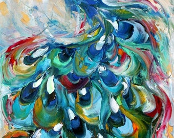 Peacock painting original oil 10x20 abstract palette knife impressionism on canvas fine art by Karen Tarlton